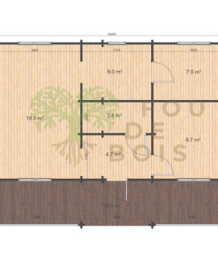 Le chalet Maja 7,4m x 10m; 68mm_floor plan