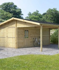 Garage en bois + Carport 6 m x 6 m, 44 mm