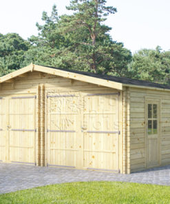 Double garage en bois 6 m x 6 m, 44 mm