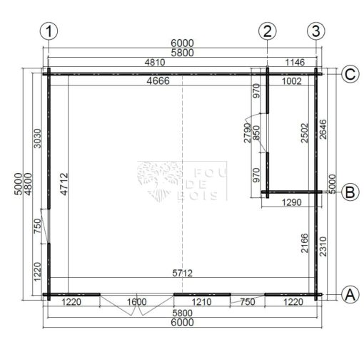 Maison de jardin Head office 6 m x 5 m, 44 mm_floor plan